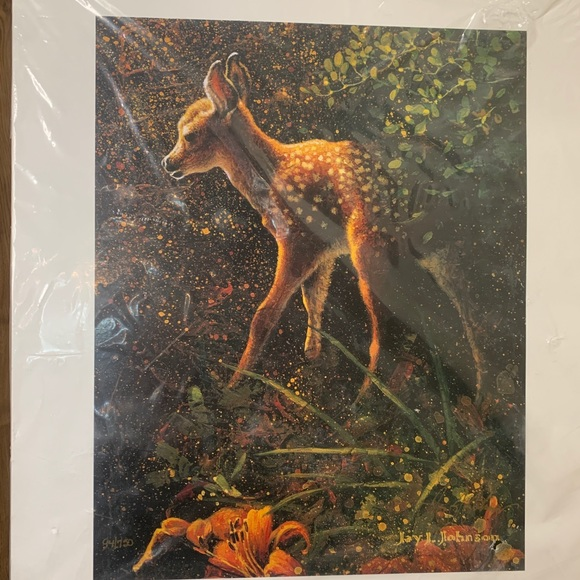 Jay J Johnson Fawn With Tiger Lilies Print RARE